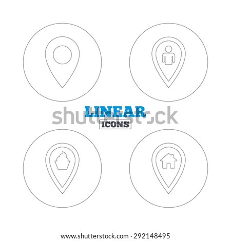 Map pointer icons. Home, food and user location symbols. Restaurant and cupcake signs. You are here. Linear outline web icons. Vector - stock vector