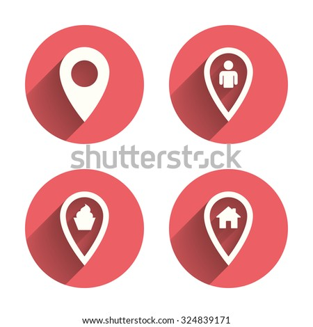 Map pointer icons. Home, food and user location symbols. Restaurant and cupcake signs. You are here. Pink circles flat buttons with shadow. Vector - stock vector