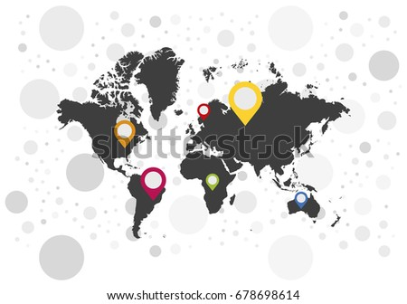 Map pointer icons on background world stock vector 678698614 map pointer icons on background world map flat vector illustration eps 10 gumiabroncs Gallery