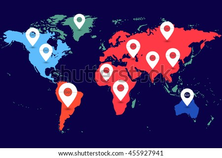 Map pointer icons randomly located on all continents of the Earth. Conceptual vector illustration - stock vector