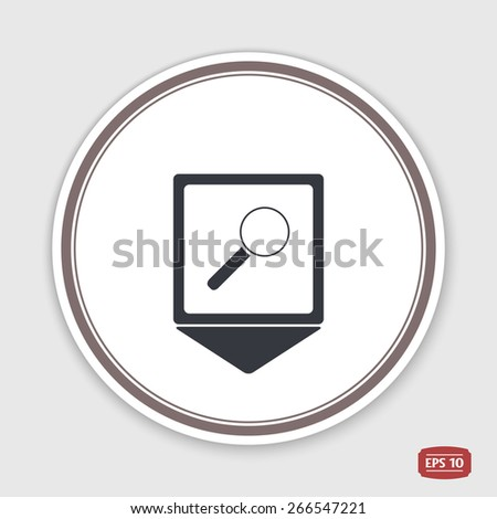 Map pointer. Magnifying glass icon. Emblem or label with shadow. Flat design style. Made vector illustration - stock vector
