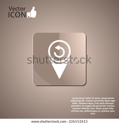 Map pointer - reversal roadsign. Made in vector - stock vector