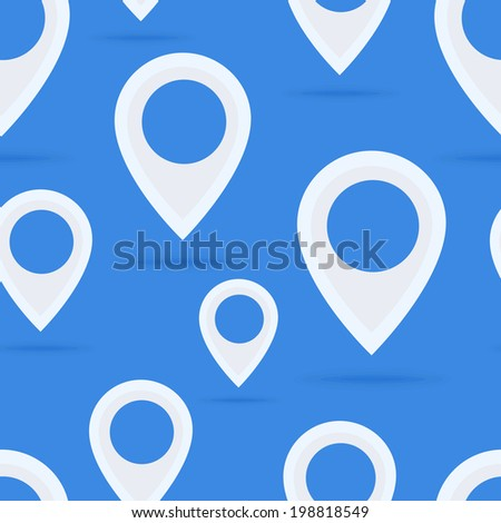 Map Pointer Seamless Pattern Flat Design. Vector Illustration - stock vector