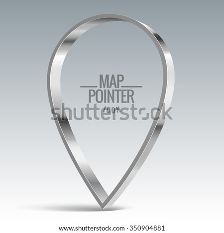 Map pointer sign. Shiny metal vector banner - stock vector