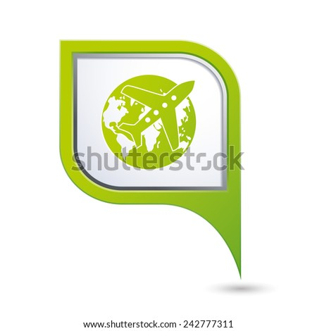 Map pointer with airplane and earth globe icon. Vector illustration - stock vector