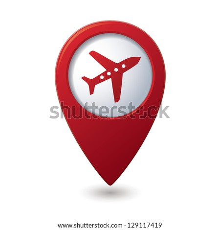 Map pointer with airplane icon. Vector illustration - stock vector