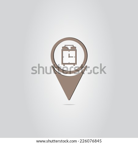Map Pointer with alarm clock icon. Made in vector - stock vector