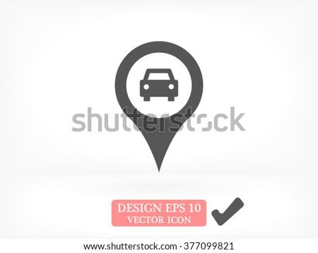 Map pointer with car icon - stock vector
