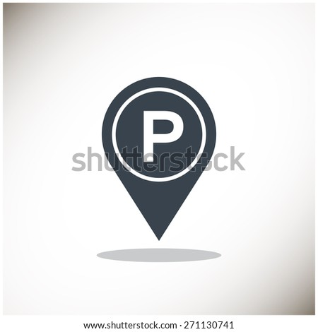 Map pointer with car parking icon. - stock vector