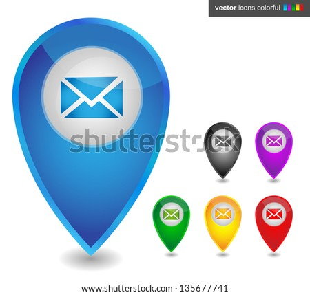 Map pointer with email, icon colorful