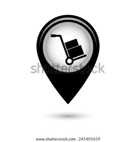 Map pointer with Hand truck icon - stock vector