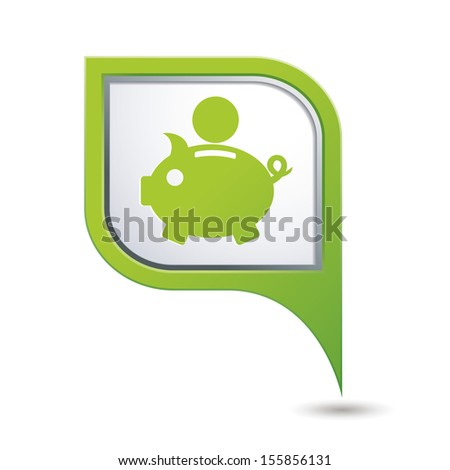 Map pointer with piggy bank icon. Vector illustration - stock vector