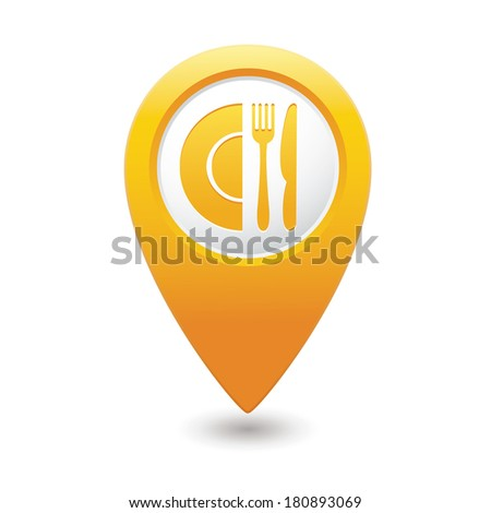 Map pointer with restaurant icon. Vector illustration - stock vector