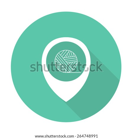 map pointer with skein of thread icon. vector illustration - stock vector