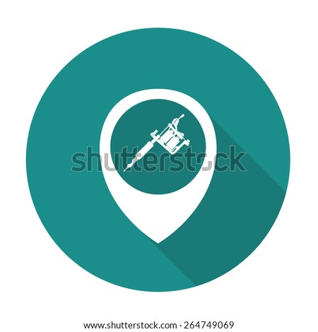 map pointer with tattoo machine icon. vector illustration - stock vector