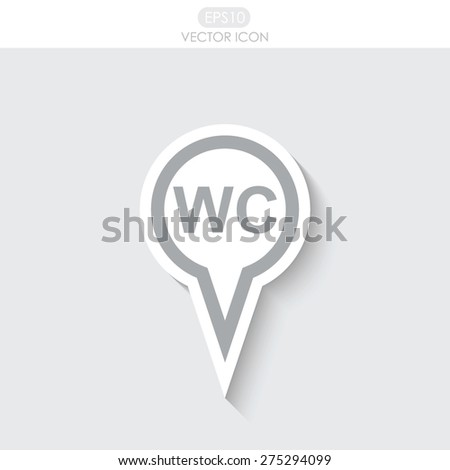 Map pointer with WC vector icon.  - stock vector