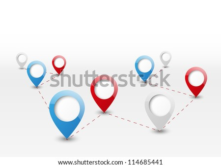 Map pointers background with place for text - stock vector
