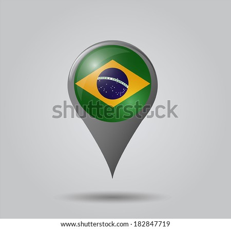 Map pointers with flag and 3D effect on grey background - Brazil - stock vector