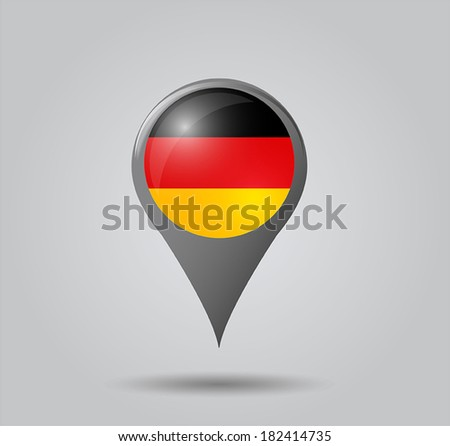Map pointers with flag and 3D effect on grey background - Germany - stock vector