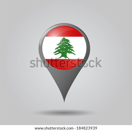 Map pointers with flag and 3D effect on grey background - Lebanon - stock vector
