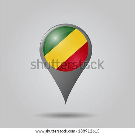 Map pointers with flag and 3D effect on grey background - Republic of the Congo - stock vector