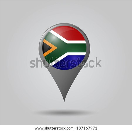 Map pointers with flag and 3D effect on grey background - South Africa