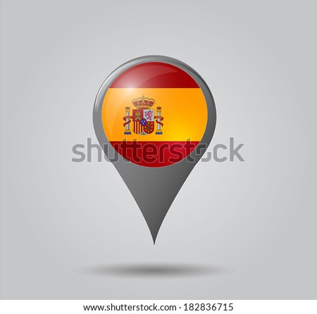 Map pointers with flag and 3D effect on grey background - Spain  - stock vector