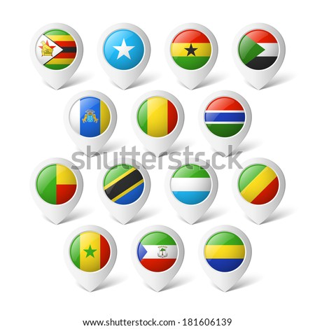 Map pointers with flags. Africa. - stock vector