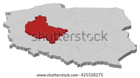 Map - Poland, Greater Poland - stock vector