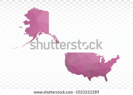 Map polygonal-USA map. Multicolored country map in geometric triangle style for your infographics. Vector illustration eps 10.