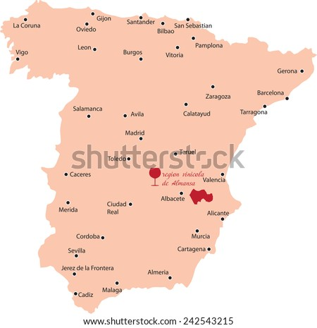 map region of almansa in Canary Islands - stock vector