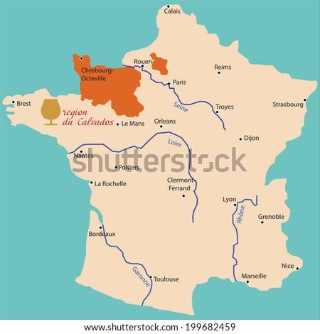 map region of calvados in France - stock vector