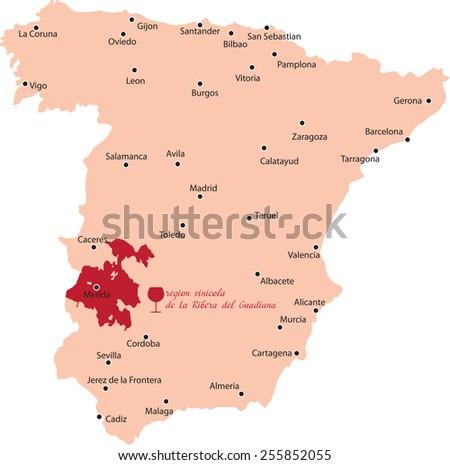map region of ribera del guadiana in Spain - stock vector