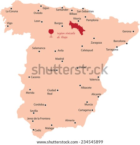 map region of rioja in Spain - stock vector