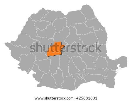 Map - Romania, Sibiu - stock vector