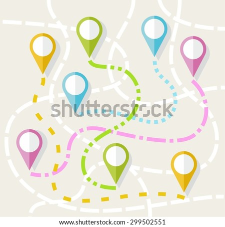 Map, route, direction, path, navigation, color, flat. On a map drawn routes between different icons. Colored illustration.   - stock vector