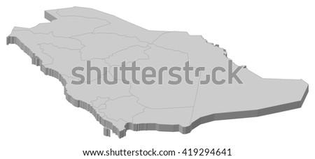 Map - Saudi Arabia - 3D-Illustration - stock vector