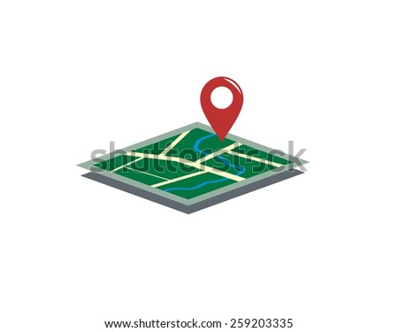 map simple illustration  - stock vector