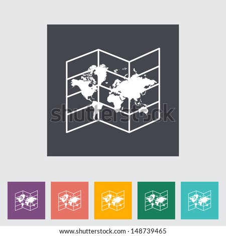 Map. Single flat icon. Vector illustration. - stock vector