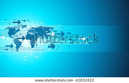 Map site business. Digital vector templete in blue.