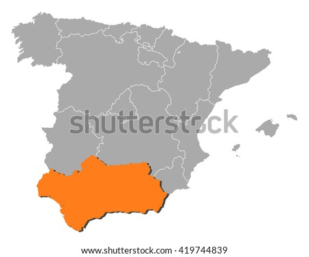 Map - Spain, Andalusia - stock vector