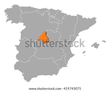 Map - Spain, Madrid - stock vector
