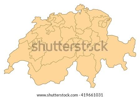 Map - Switzerland - stock vector