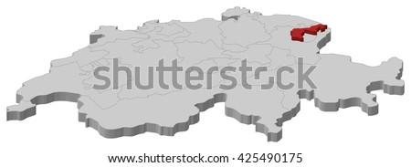 Map - Swizerland, Appenzell Ausserrhoden - stock vector
