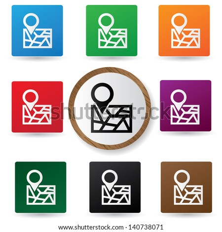 Map symbol on button,vector - stock vector