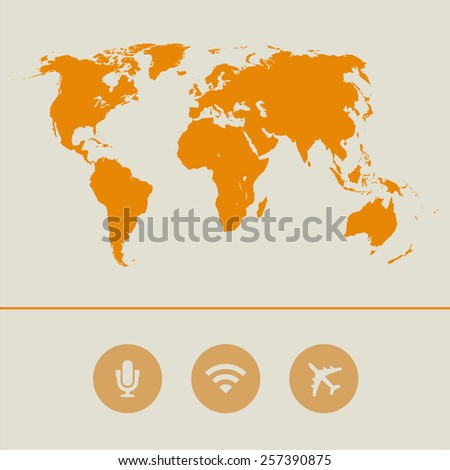 Map texture background with microphone, Wifi and airplane icon great for any use. Vector EPS10. - stock vector