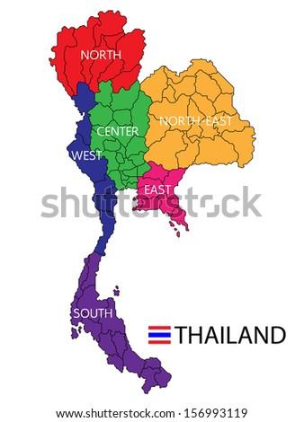 map thailand - stock vector