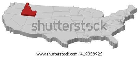 Map - the United States, Idaho - 3D-Illustration - stock vector