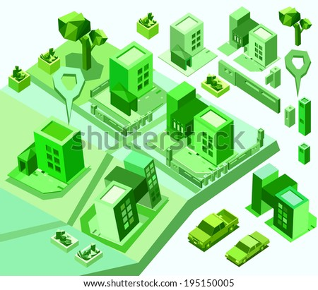 Map toolkit with Isometric Buildings and Roads. green tone color - stock vector