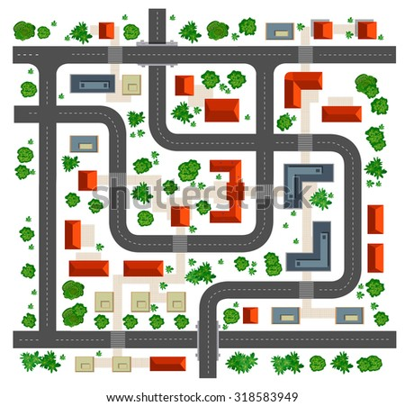 Map top view from the rooftops, streets, trees and roads on a white background - stock vector